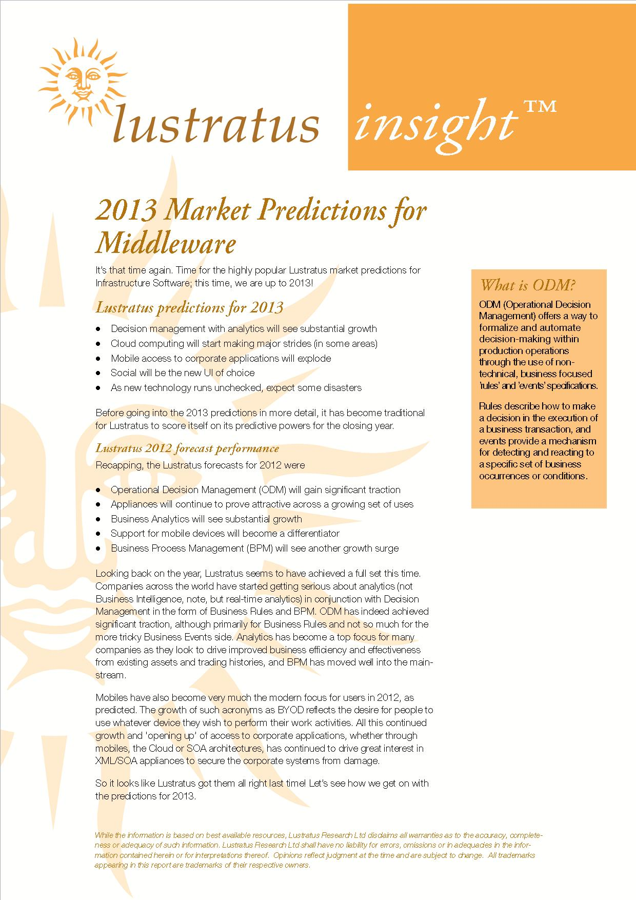 2013 Market predictions for infrastructure software image