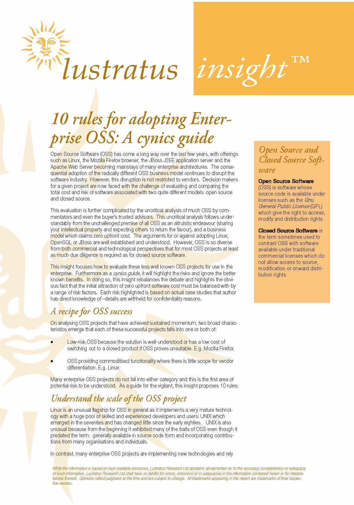 Pages from 10 Rules for adopting Enterprise OSS