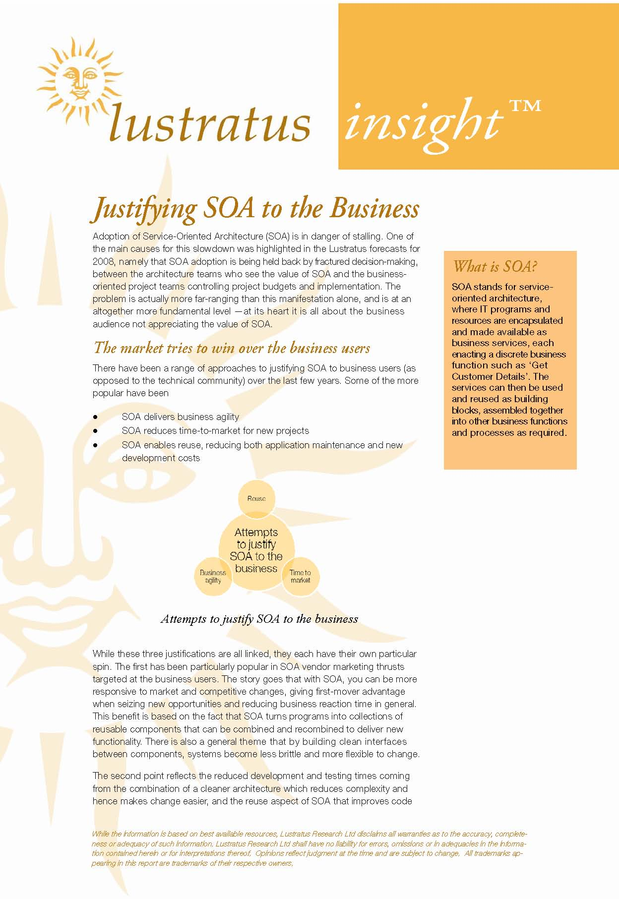 Pages from Justifying SOA to the Business
