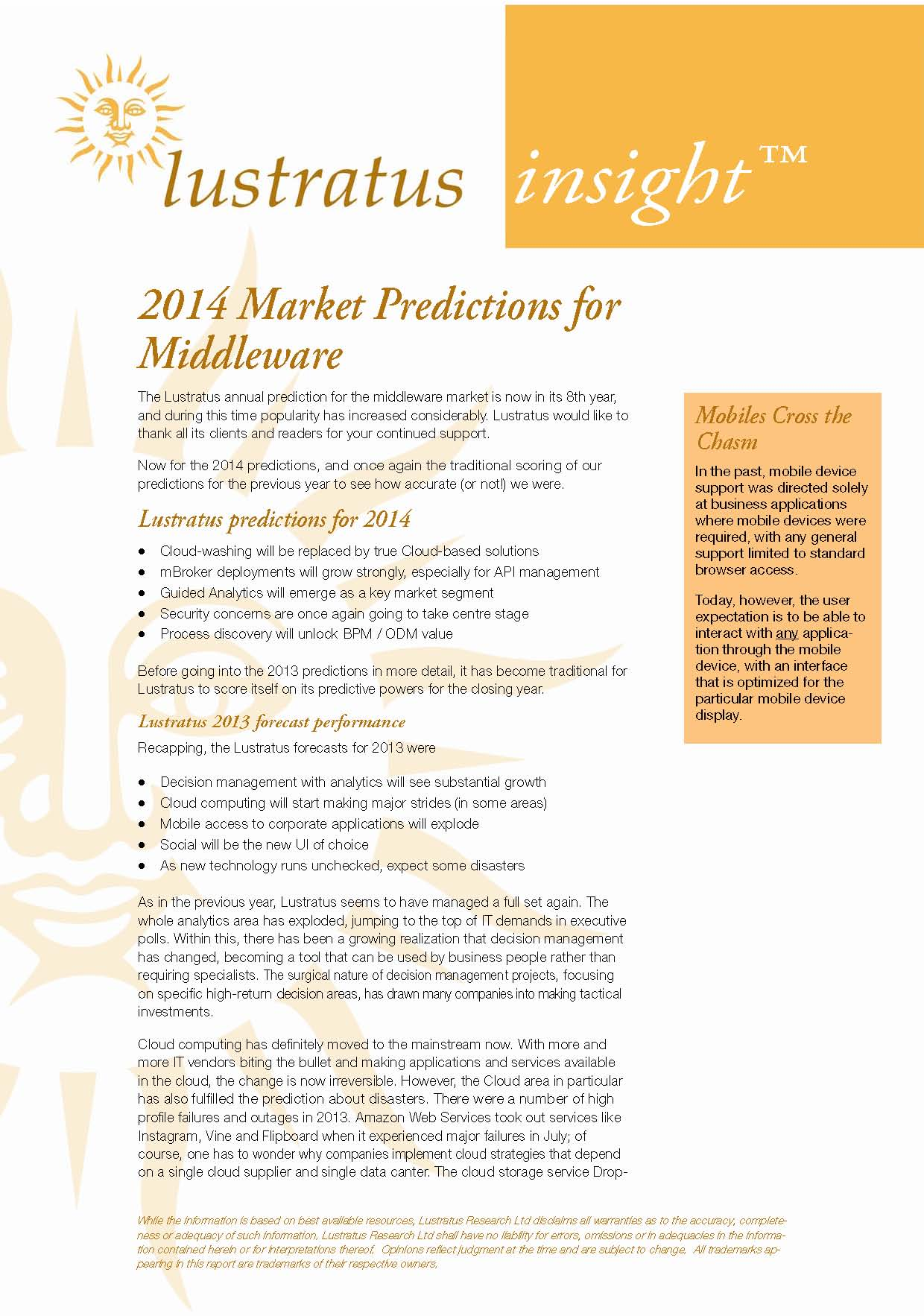2014 Market predictions for infrastructure software 1